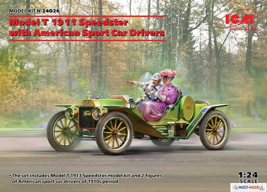 1:24 ICM 24026 Model T 1913 Speedster with American Sport Car Drivers