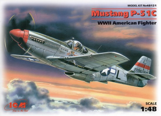 ICM Mustang P-51C WWII American Fighter + Tamiya Lijm
